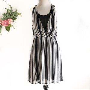 H&M Black and White Striped sleeveless Dress
